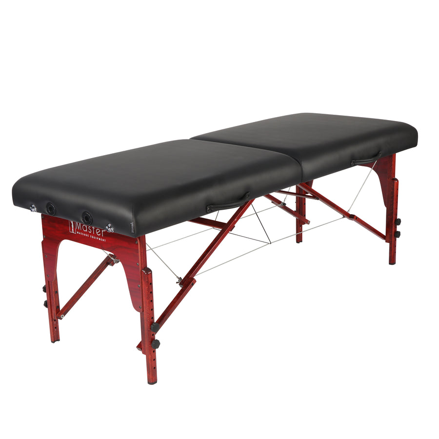 "Refurbish Master Massage 31"" Montclair™ Portable Massage Table ONLY with MEMORY FOAM Layer, Shiatsu Cables, & Reiki Panels! (Black Color)"