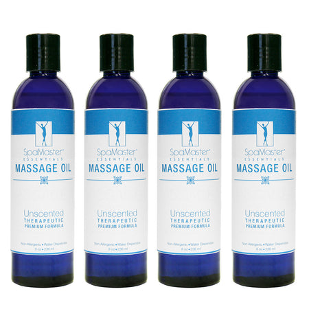 Master Massage - Organic & Unscented Water-Soluble Blend Massage Oil - 4 Pack