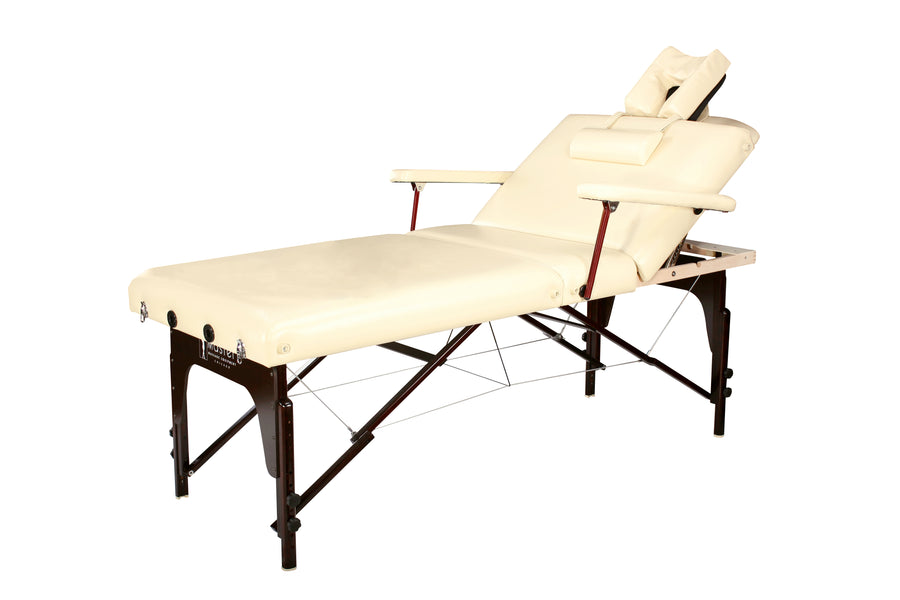 "Refurbish Master Massage 31"" SAMSON™ Salon LX Portable Massage Table Package ""Day Spa in a Box"" with Lift-Back Action! (Cream Color)"
