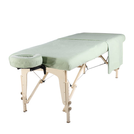 Master Massage Deluxe Massage Table Flannel 3 Piece Sheet Set - 100% Cotton-Lily Green