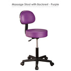 Master Massage Pneumatic Rolling Stool with Backrest purple