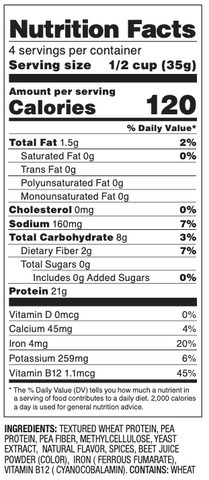 Plant Based Porkless Nutritional Facts