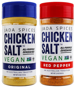 chicken salt vegan and vegetarian seasoning original and red pepper flavors