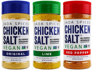 chicken salt vegan and vegetarian seasoning original, lime, and red pepper flavors