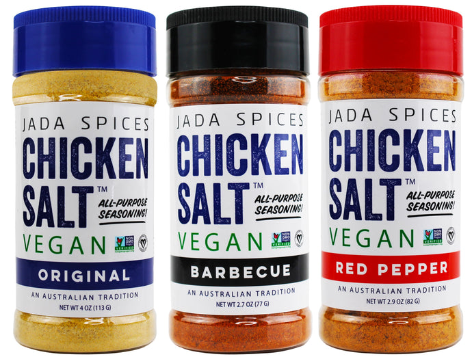 chicken salt vegan and vegetarian seasoning original, barbecue, and red pepper flavors