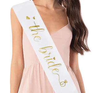 """The Bride"" Satin White Sash with Gold Foil Text"
