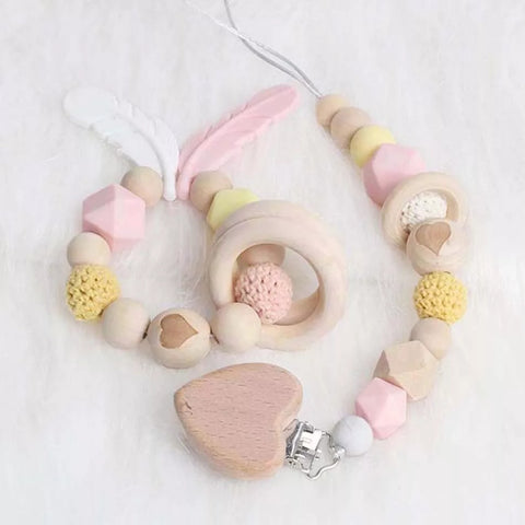 Teething ring & dummy clip set - heart