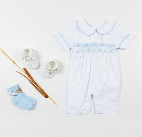 Baby white cotton hand smocked romper
