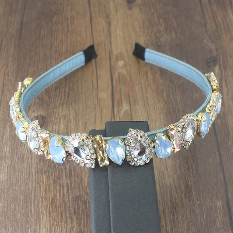 Pale blue embellished sparkle hairband
