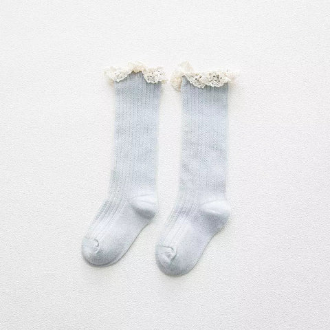 Girls frill socks - Pale Blue