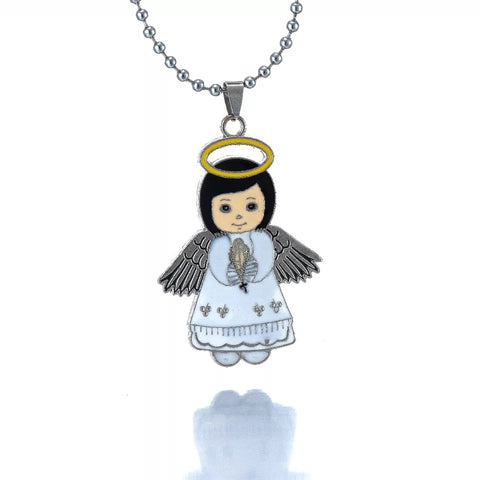 Silver girls guardian angel necklace