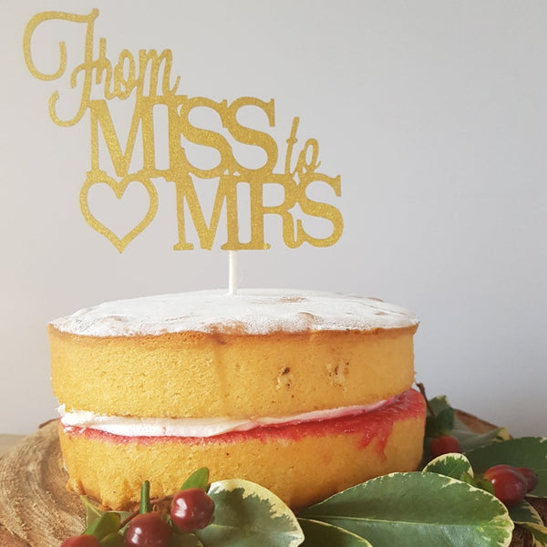 From Miss to Mrs gold sparkle cake topper