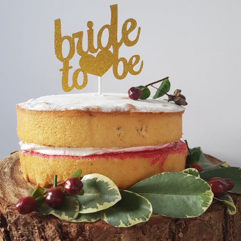 Bride to Be gold sparkle cake topper