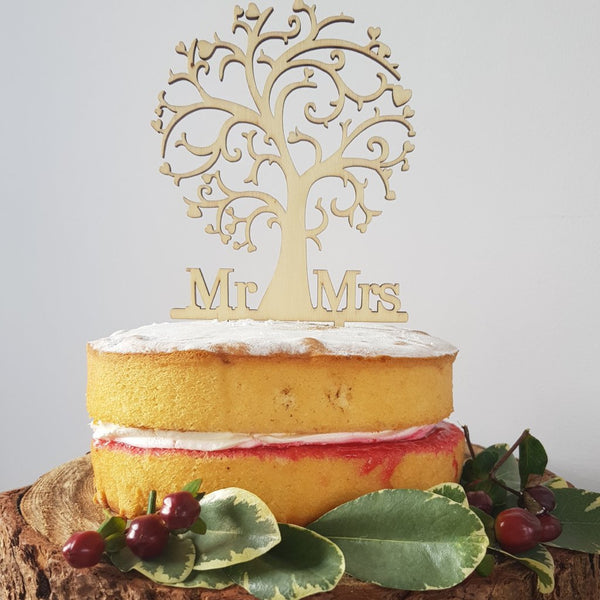 Mr and Mrs Rustic Tree Wooden Cake Topper