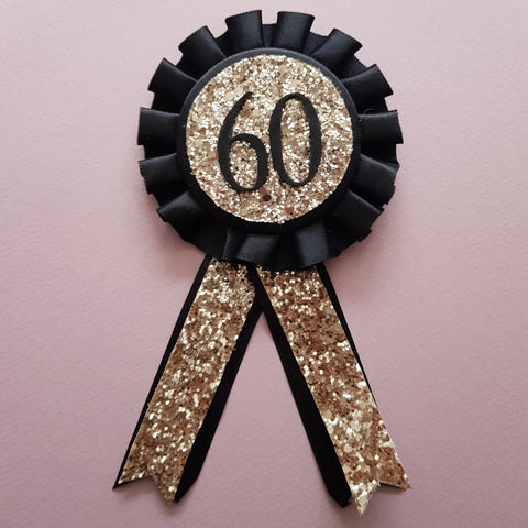 Birthday Rosette GOLD Glitter on Black Satin Ribbon