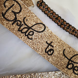 Embelished Bride to be Set - Black & Gold Headband Veil with  Glitter sash