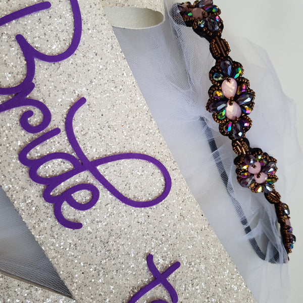 Embelished Bride to be Set - Purple & Black Headband Veil with  Glitter sash