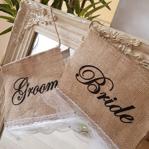 Burlap & Lace Bride and Groom Chair Signs