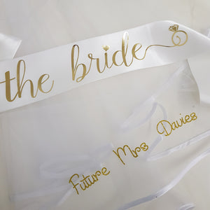 White and gold personalised veil and satin sash set