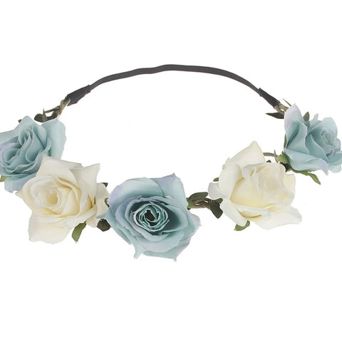 Flower teal and cream head band