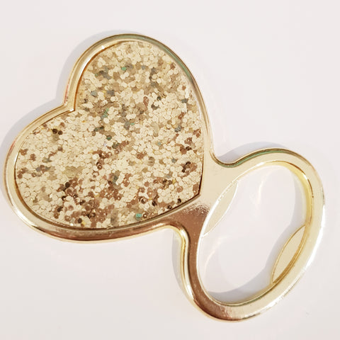 Gold Glitter Heart Bottle Opener
