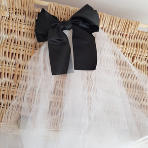 Satin Black Bow Veil