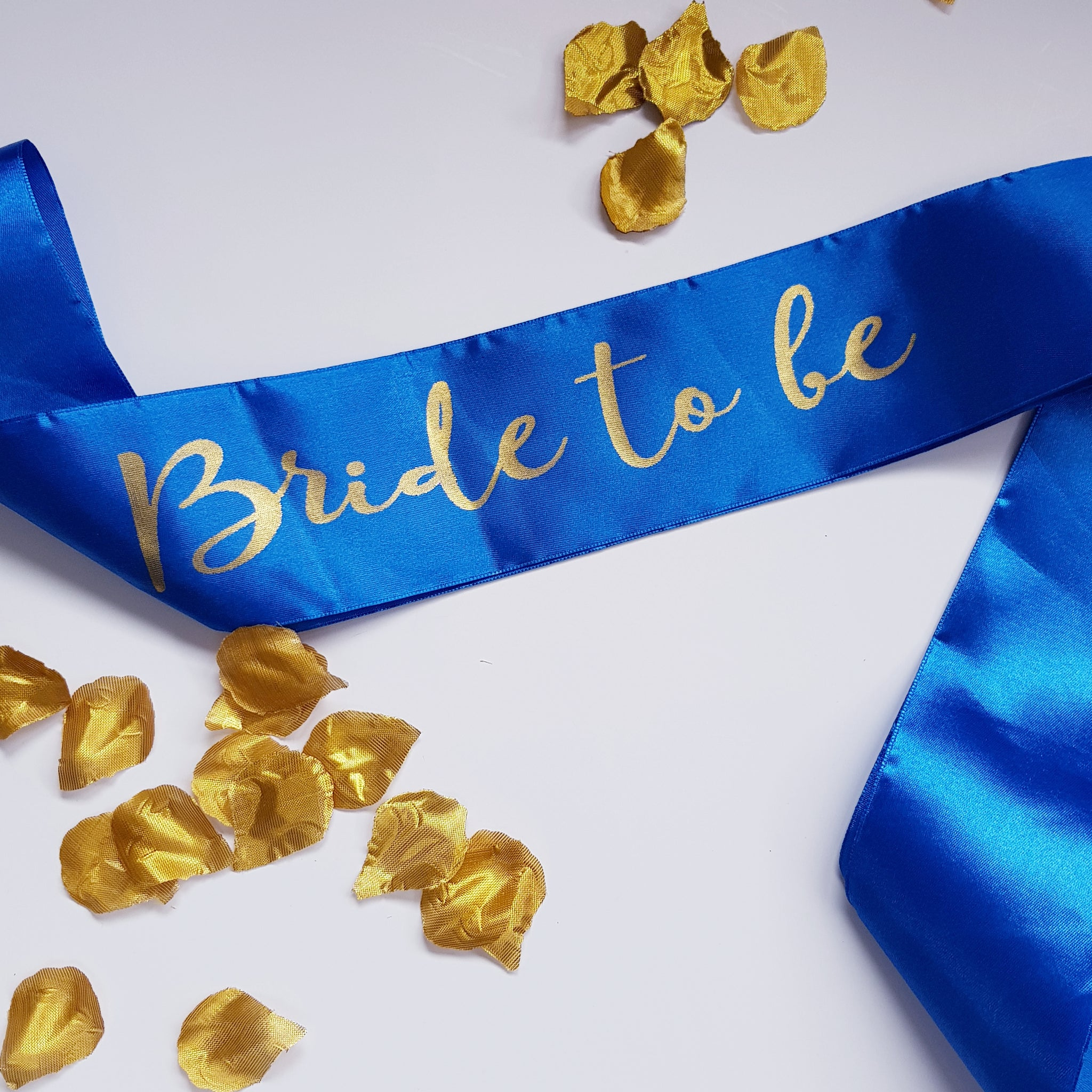 Bride to be Satin Royal Blue Sash with Gold Foil Text