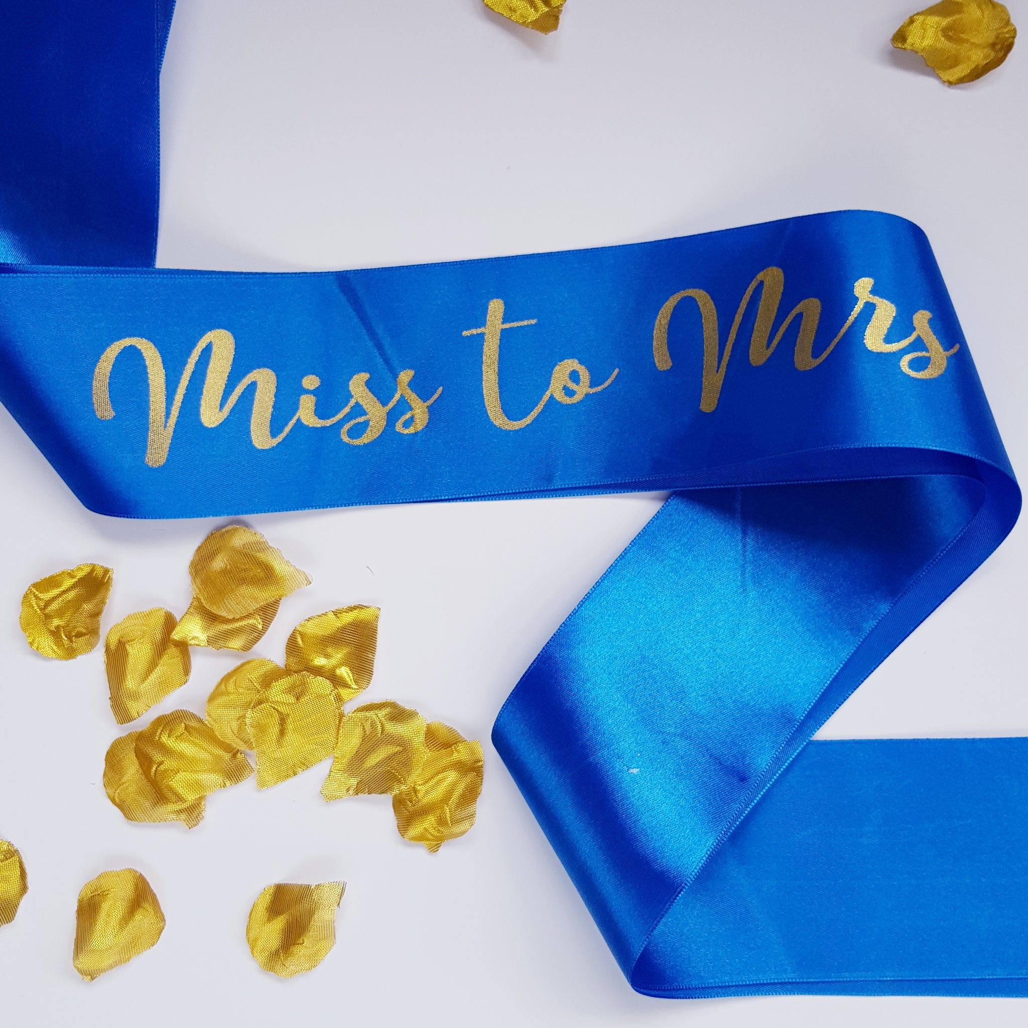 Miss to Mrs Satin Royal Blue Sash with Gold Foil Text