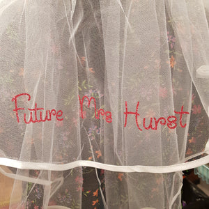 Pink personalised glitter text veil