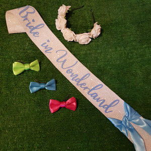 Bride in Wonderland hen party set bows