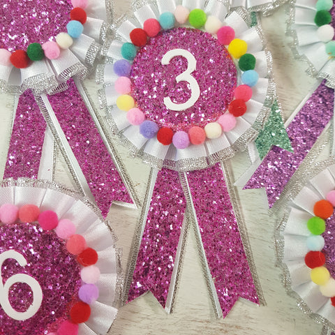 Glitter pompom kids birthday badge