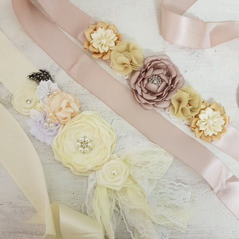 Satin and pearl mum to be bump sash