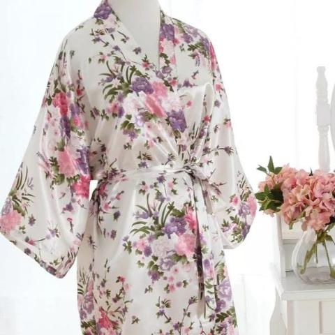 White satin floral Bride Dressing Gown