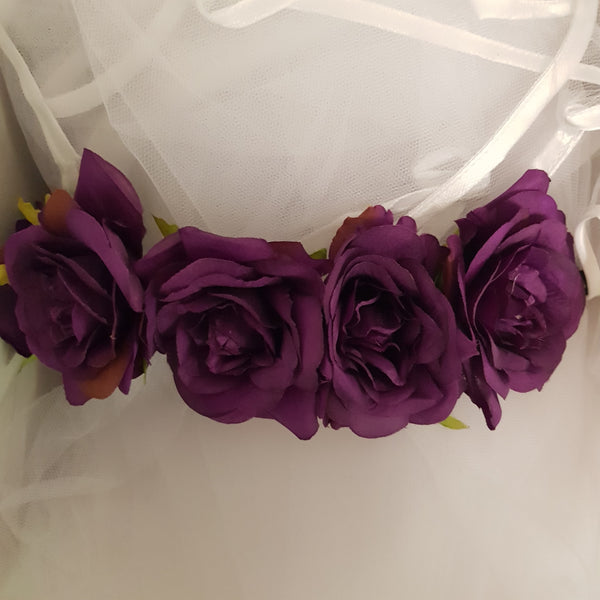 Purple Floral Crown and Veil