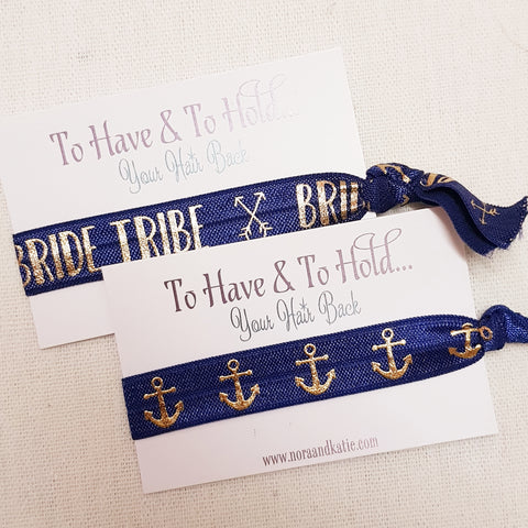Nautical To have and to hold your hair back hen party bag fillers