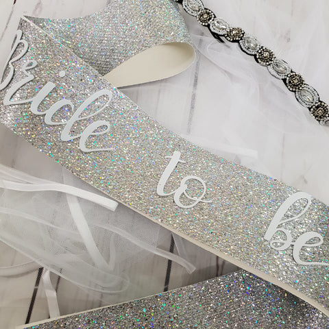 Bride to be sparkle sash with bobo headband veil