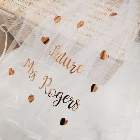 "Rose Gold shimmer "" Future Mrs"" love veil"
