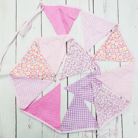 Personalised pastel floral cotton bunting