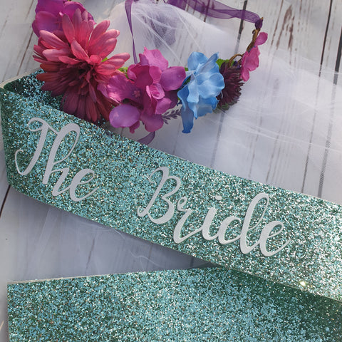 The Bride mint sash and floral crown
