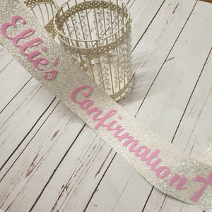 White glitter personalised sash or banner