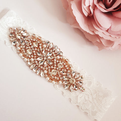 Bride Garter - Rose Gold