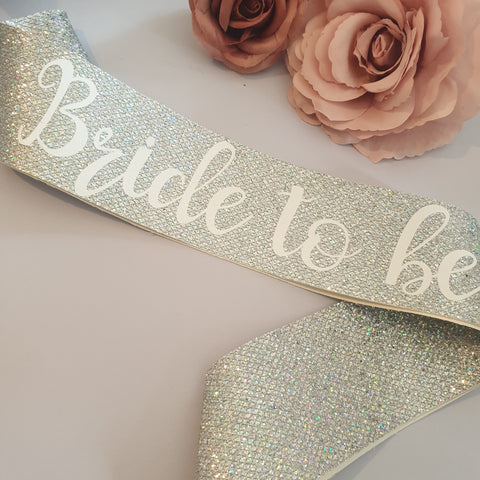 Bride to be Sash - SILVER Glitter