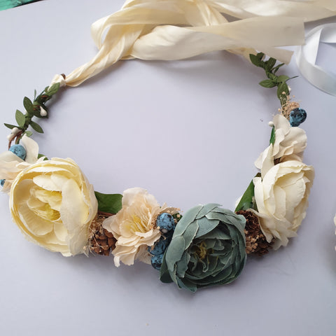 Vintage teal flower crown - Flower Girl