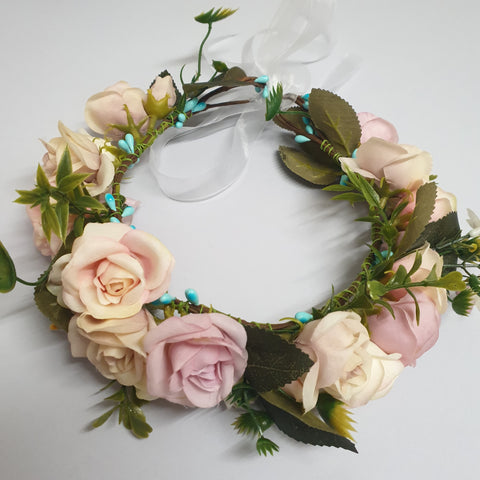 Vintage blush Flowers Floral Crown with veil
