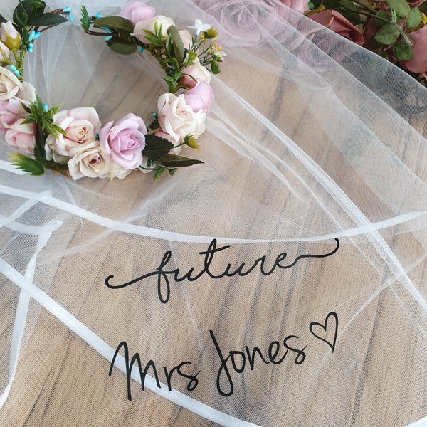 Flower Crown with Personalised script veil - Boho Hen Party