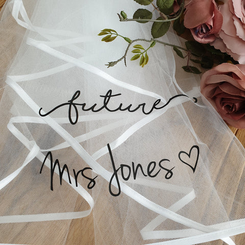 Personalised script veil - Boho Hen Party