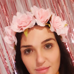 Team Bride pink flower headband
