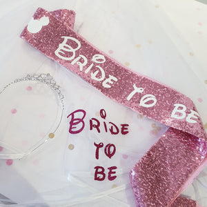 Disney Inspired Bride to be sequin Sash, tiara & Veil