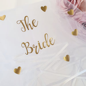 Gold love heart veil