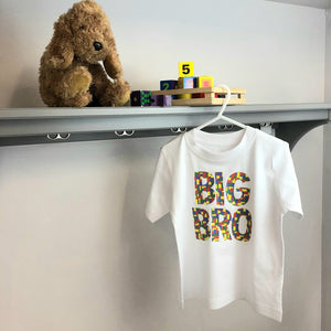Big Bro lego print white birthday t-shirt